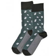 Big Bucks Mens Crew Sock Grey Dollar Symbol Design