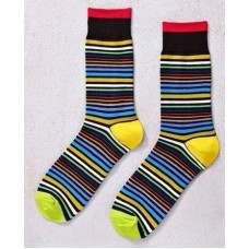 Walk The Line, Men's Crew Sock, Multi-color Stripes