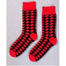 RELEASE THE HOUNDS, MEN'S CREW SOCK, RED & BLACK HOUNDSTOOTH