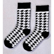 Houndstooth, Crew Sock, Black & White Houndstooth