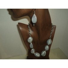 Black And White Cowrie Shell Necklace, Freshwater Pearls, Black Onyx Beads