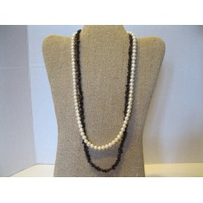 Cultured Pearl And Garnet Gemstone Double Strands Beaded Necklace. 6-7mm