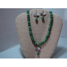 "Emerald Green Glass Beads With Silver Fan And Green Bead Pendant  20"" In Length.  Matching Fan Earring"