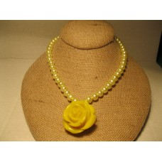 "Glass yellow pearl necklace with yellow rose pendant. 16"" long.  Pendant 1 1/2"""