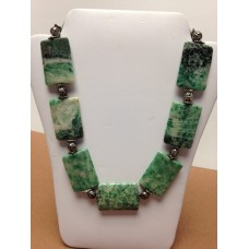 Green Jasper Gemstone, silver plated spacer beads, floral hoop and eye clasp