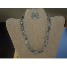 "Handmade - Jasper Gemstone Necklace - 20"" With Matching Earrings - Earth Tones (gray, Black)"