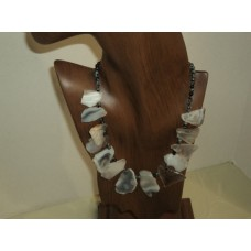 Agate Gemstone (white In Color) Necklace, Gemstone; Seed Beads Spacer