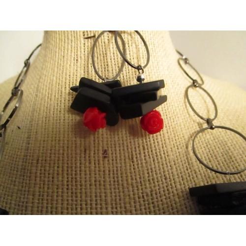 black onyx with rose stone