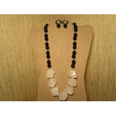 Raw natural rock quartz, onyx beads, silver plated beads 24""