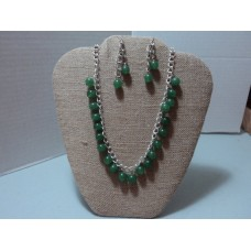 """Silver chain Emerald Green Glass Pearl Beaded Necklace.  Matching earrings.  20"""" in length"""