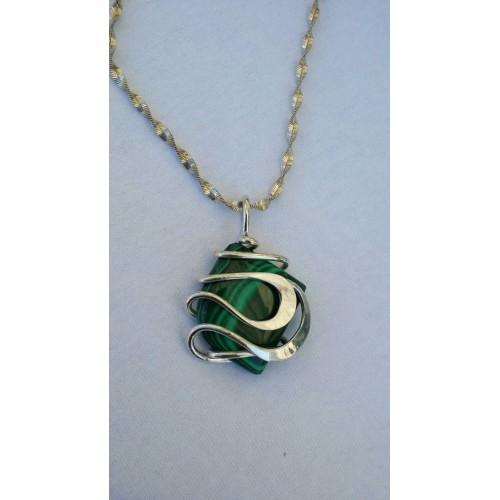 Sterling Silver & Malachite Necklace
