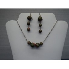 "Unakite Green And Red Gemstone, 18"" Long, Silver Plated Chain Matching Earrings, 2"" Long"