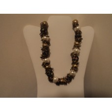 White Glass Pearls, Gold Brass Beads And Rings Blue And Pink Floral Fabric Beads,